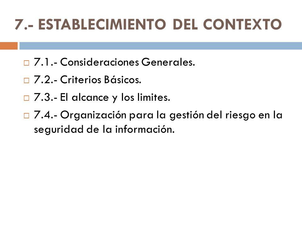 7.- ESTABLECIMIENTO DEL CONTEXTO 7.1.- Consideraciones Generales. 7.2.- Criterios Básicos. 7.3.- El alcance y los limites. 7.4.- Organización para la
