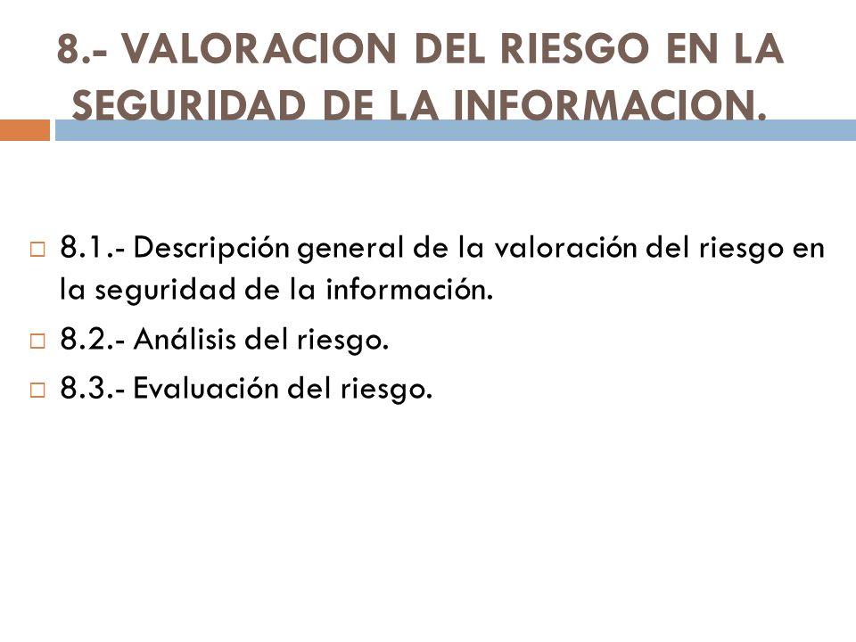8.- VALORACION DEL RIESGO EN LA SEGURIDAD DE LA INFORMACION. 8.1.- Descripción general de la valoración del riesgo en la seguridad de la información.