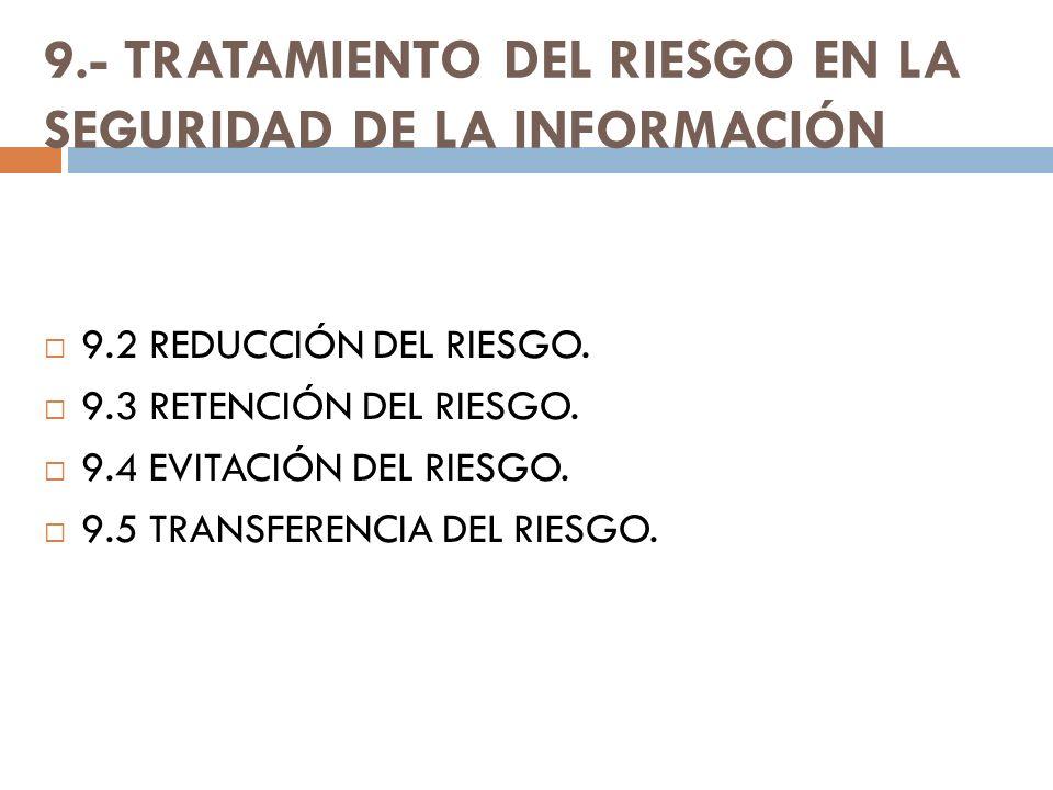 9.- TRATAMIENTO DEL RIESGO EN LA SEGURIDAD DE LA INFORMACIÓN 9.2 REDUCCIÓN DEL RIESGO. 9.3 RETENCIÓN DEL RIESGO. 9.4 EVITACIÓN DEL RIESGO. 9.5 TRANSFE
