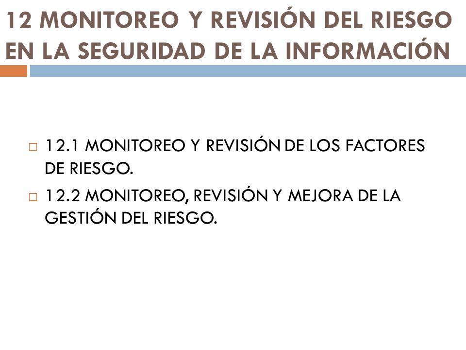 12 MONITOREO Y REVISIÓN DEL RIESGO EN LA SEGURIDAD DE LA INFORMACIÓN 12.1 MONITOREO Y REVISIÓN DE LOS FACTORES DE RIESGO. 12.2 MONITOREO, REVISIÓN Y M