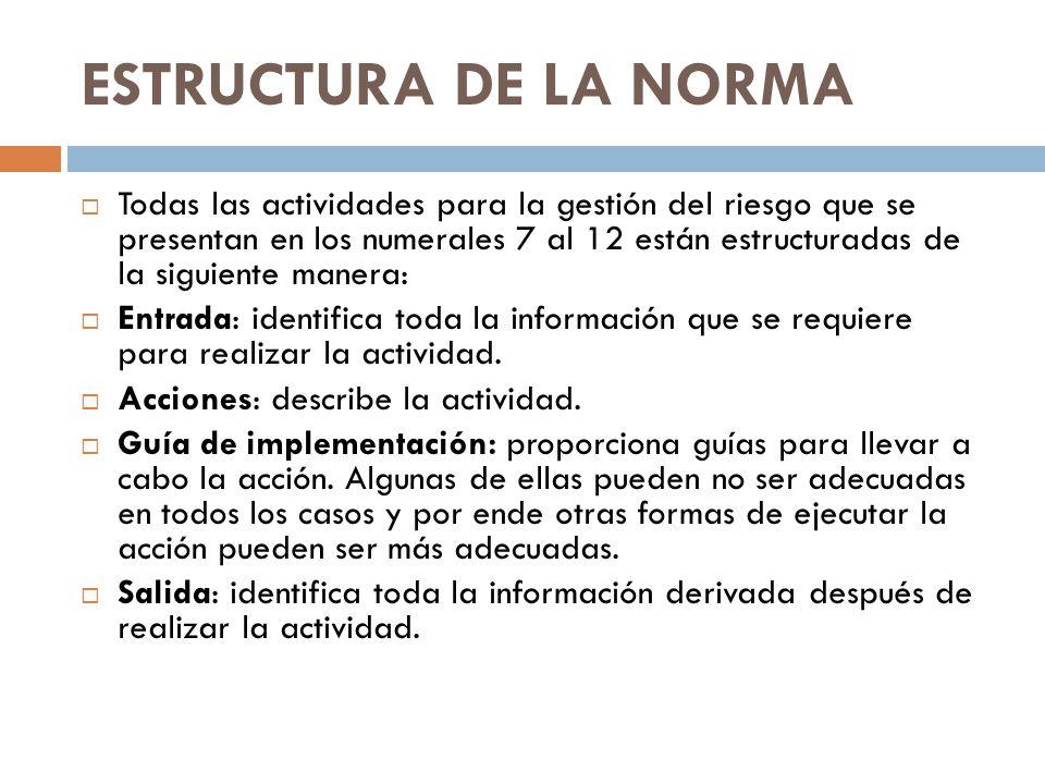 ESTRUCTURA DE LA NORMA Todas las actividades para la gestión del riesgo que se presentan en los numerales 7 al 12 están estructuradas de la siguiente
