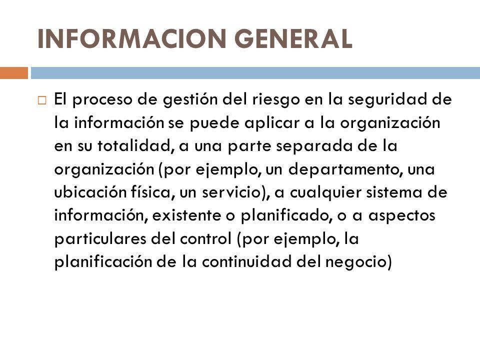 INFORMACION GENERAL El proceso de gestión del riesgo en la seguridad de la información se puede aplicar a la organización en su totalidad, a una parte