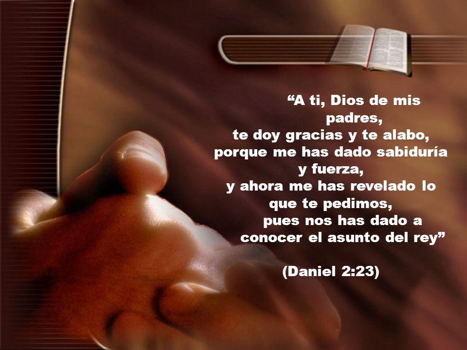 A ti, Dios de mis padres, te doy gracias y te alabo, porque me has dado sabiduría y fuerza, y ahora me has revelado lo que te pedimos, pues nos has da