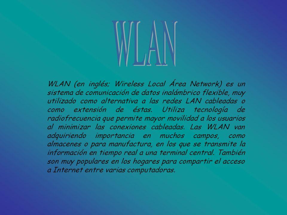 WLAN (en inglés; Wireless Local Área Network) es un sistema de comunicación de datos inalámbrico flexible, muy utilizado como alternativa a las redes LAN cableadas o como extensión de éstas.