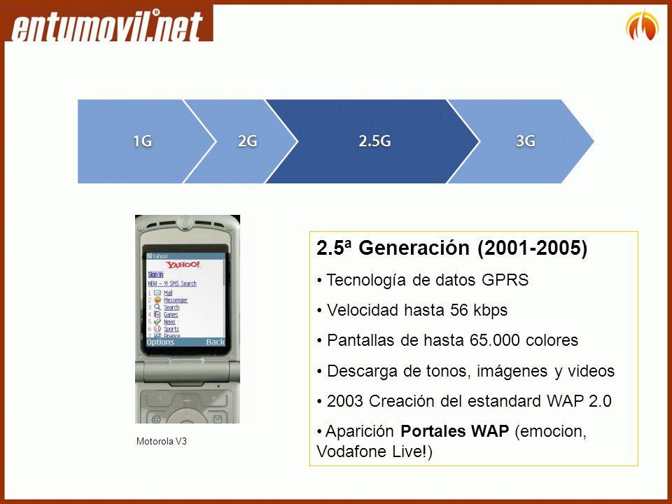 2.5ª Generación (2001-2005) Tecnología de datos GPRS Velocidad hasta 56 kbps Pantallas de hasta 65.000 colores Descarga de tonos, imágenes y videos 2003 Creación del estandard WAP 2.0 Aparición Portales WAP (emocion, Vodafone Live!) Motorola V3