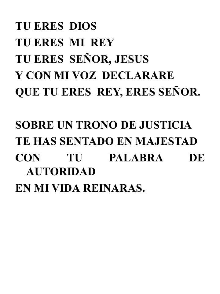 TU ERES DIOS TU ERES MI REY TU ERES SEÑOR, JESUS Y CON MI VOZ DECLARARE QUE TU ERES REY, ERES SEÑOR. SOBRE UN TRONO DE JUSTICIA TE HAS SENTADO EN MAJE