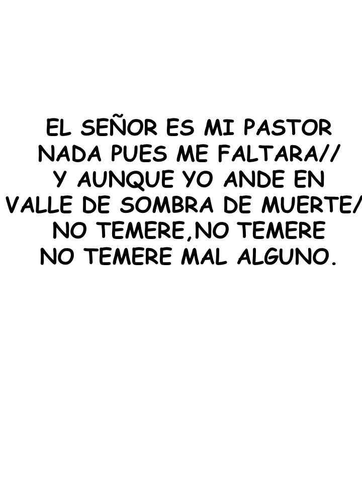 EL SEÑOR ES MI PASTOR NADA PUES ME FALTARA// Y AUNQUE YO ANDE EN VALLE DE SOMBRA DE MUERTE// NO TEMERE,NO TEMERE NO TEMERE MAL ALGUNO.