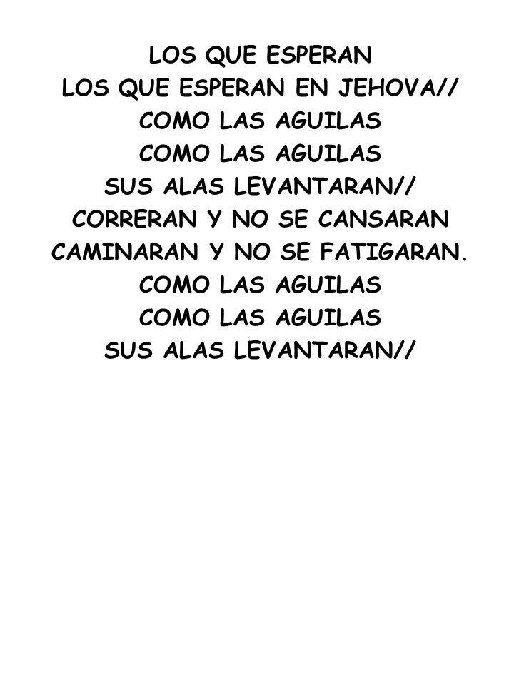LOS QUE ESPERAN LOS QUE ESPERAN EN JEHOVA// COMO LAS AGUILAS SUS ALAS LEVANTARAN// CORRERAN Y NO SE CANSARAN CAMINARAN Y NO SE FATIGARAN. COMO LAS AGU