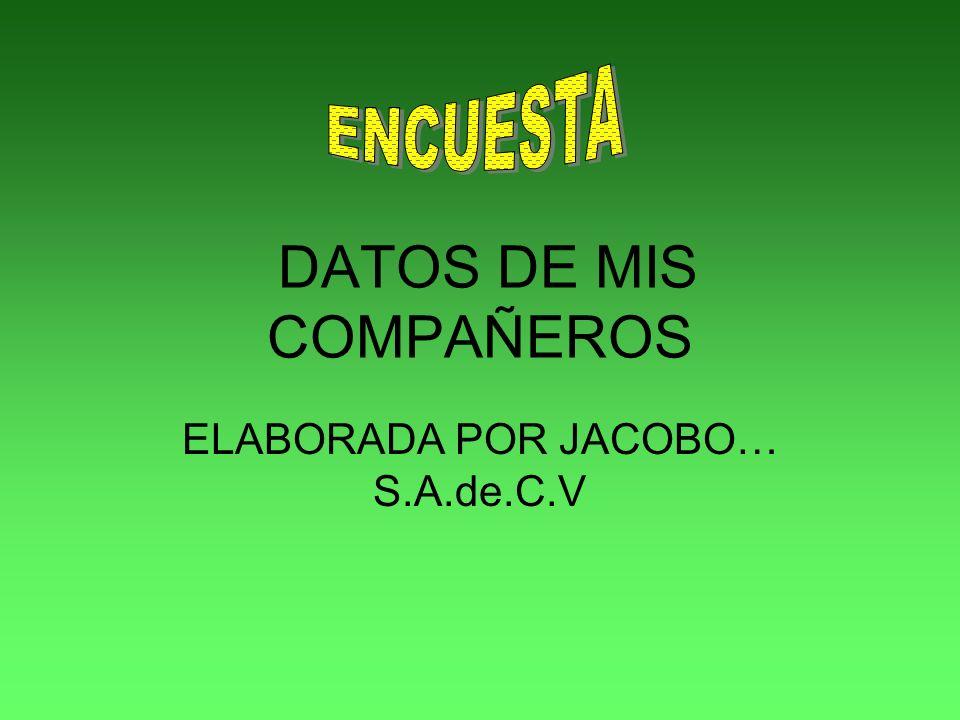 DATOS DE MIS COMPAÑEROS ELABORADA POR JACOBO… S.A.de.C.V
