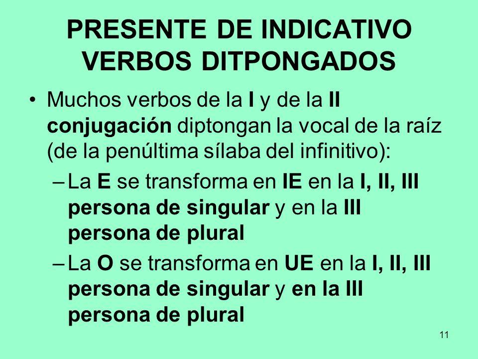 11 PRESENTE DE INDICATIVO VERBOS DITPONGADOS Muchos verbos de la I y de la II conjugación diptongan la vocal de la raíz (de la penúltima sílaba del in