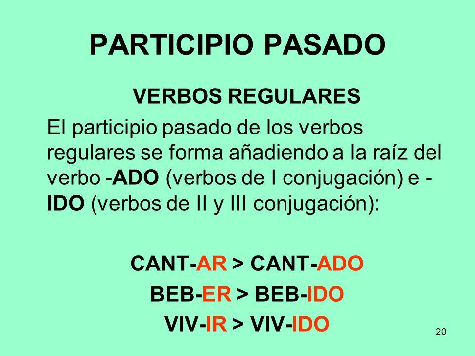 20 PARTICIPIO PASADO VERBOS REGULARES El participio pasado de los verbos regulares se forma añadiendo a la raíz del verbo -ADO (verbos de I conjugació
