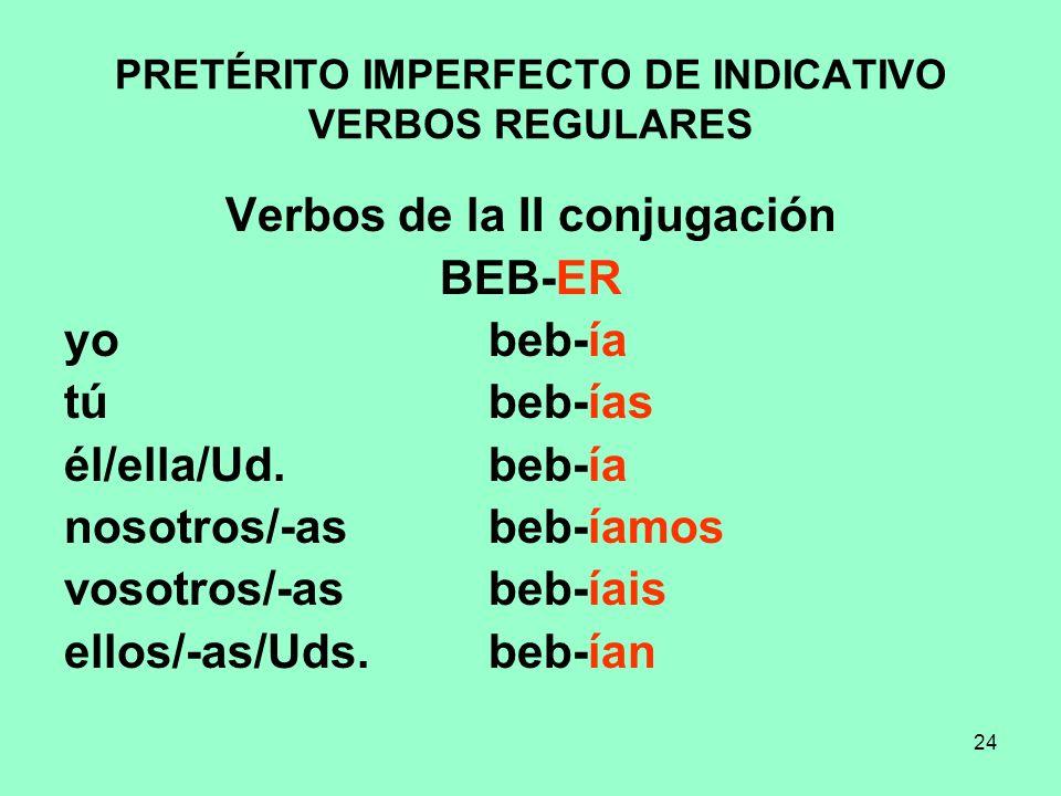 24 PRETÉRITO IMPERFECTO DE INDICATIVO VERBOS REGULARES Verbos de la II conjugación BEB-ER yo beb-ía tú beb-ías él/ella/Ud. beb-ía nosotros/-as beb-íam