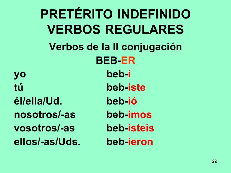 29 PRETÉRITO INDEFINIDO VERBOS REGULARES Verbos de la II conjugación BEB-ER yo beb-í tú beb-iste él/ella/Ud. beb-ió nosotros/-as beb-imos vosotros/-as