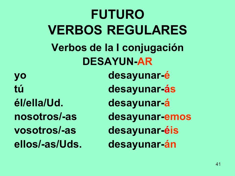 41 FUTURO VERBOS REGULARES Verbos de la I conjugación DESAYUN-AR yo desayunar-é tú desayunar-ás él/ella/Ud. desayunar-á nosotros/-as desayunar-emos vo