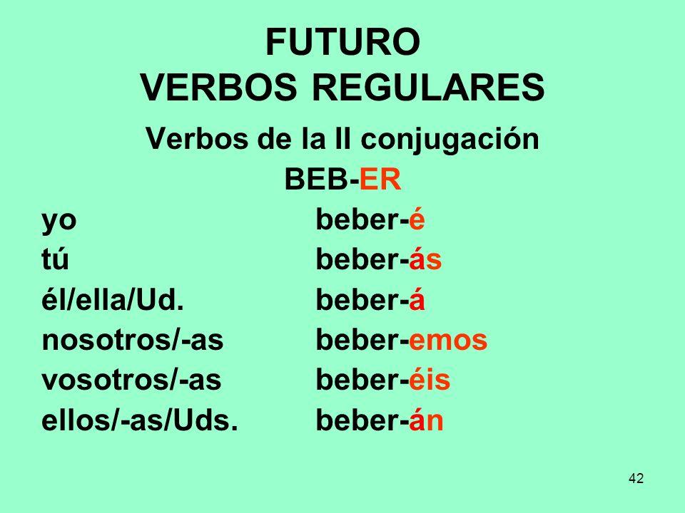 42 FUTURO VERBOS REGULARES Verbos de la II conjugación BEB-ER yo beber-é tú beber-ás él/ella/Ud. beber-á nosotros/-as beber-emos vosotros/-as beber-éi