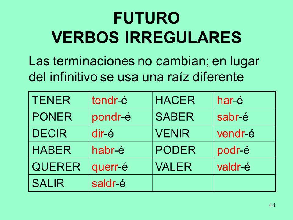 44 FUTURO VERBOS IRREGULARES Las terminaciones no cambian; en lugar del infinitivo se usa una raíz diferente TENERtendr-éHACERhar-é PONERpondr-éSABERs