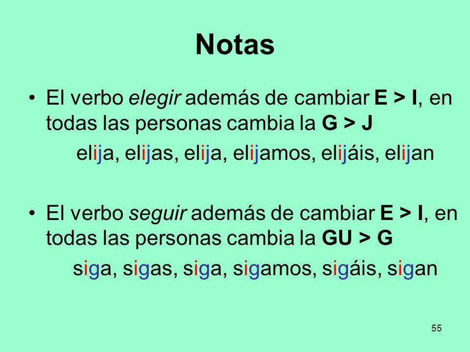 55 Notas El verbo elegir además de cambiar E > I, en todas las personas cambia la G > J elija, elijas, elija, elijamos, elijáis, elijan El verbo segui