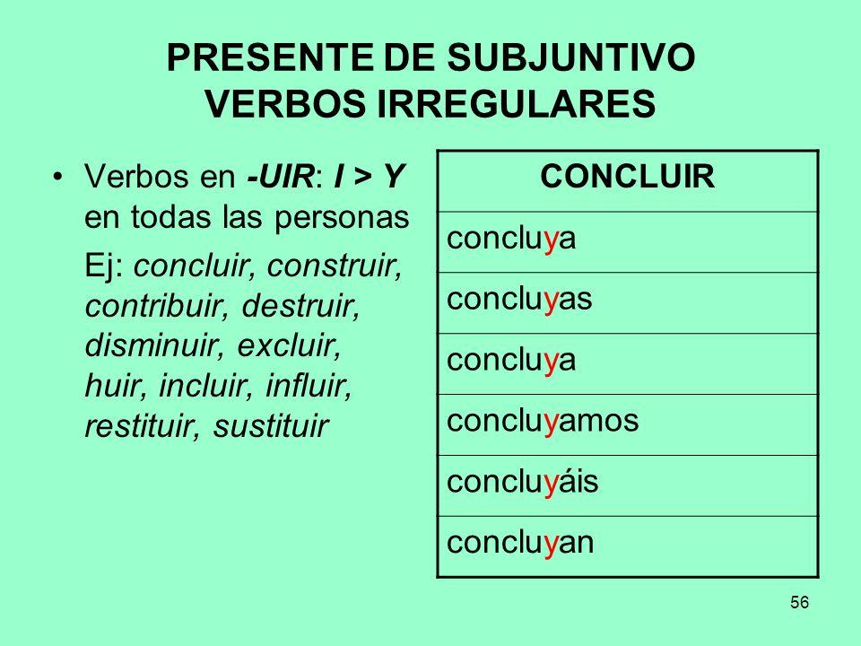 56 PRESENTE DE SUBJUNTIVO VERBOS IRREGULARES Verbos en -UIR: I > Y en todas las personas Ej: concluir, construir, contribuir, destruir, disminuir, exc