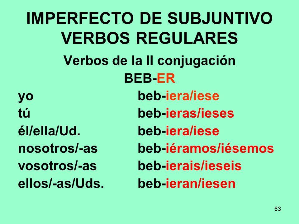 63 IMPERFECTO DE SUBJUNTIVO VERBOS REGULARES Verbos de la II conjugación BEB-ER yo beb-iera/iese tú beb-ieras/ieses él/ella/Ud. beb-iera/iese nosotros