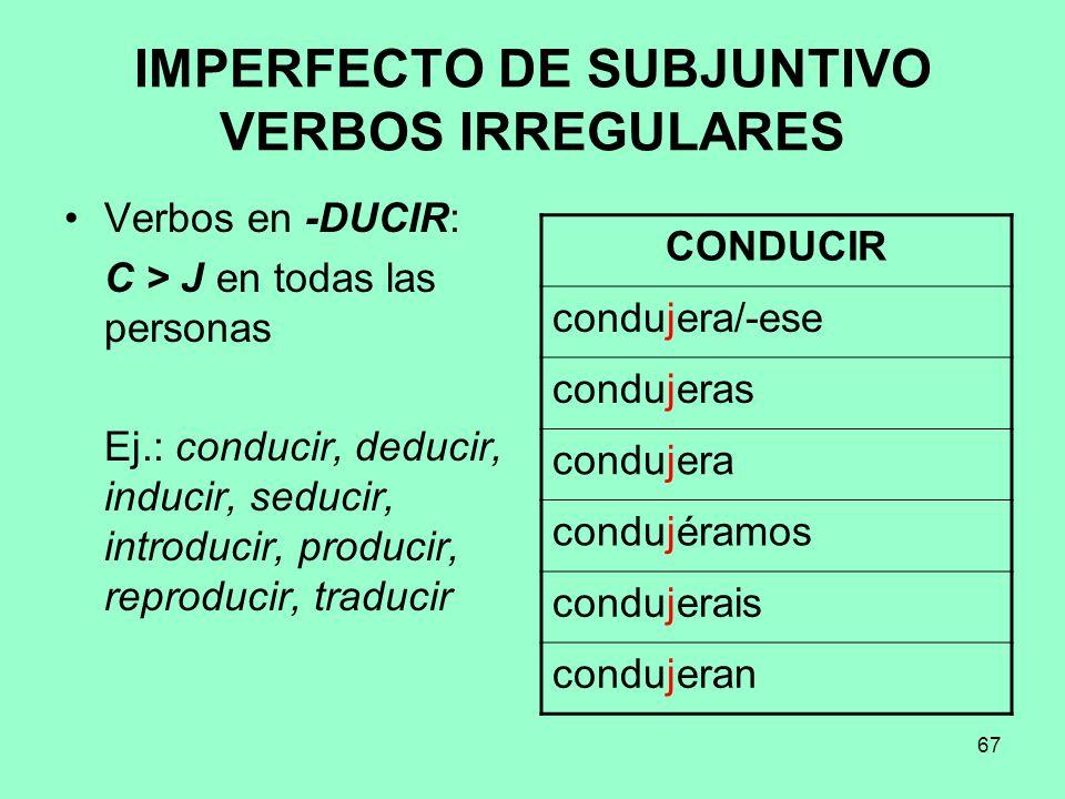 67 IMPERFECTO DE SUBJUNTIVO VERBOS IRREGULARES Verbos en -DUCIR: C > J en todas las personas Ej.: conducir, deducir, inducir, seducir, introducir, pro