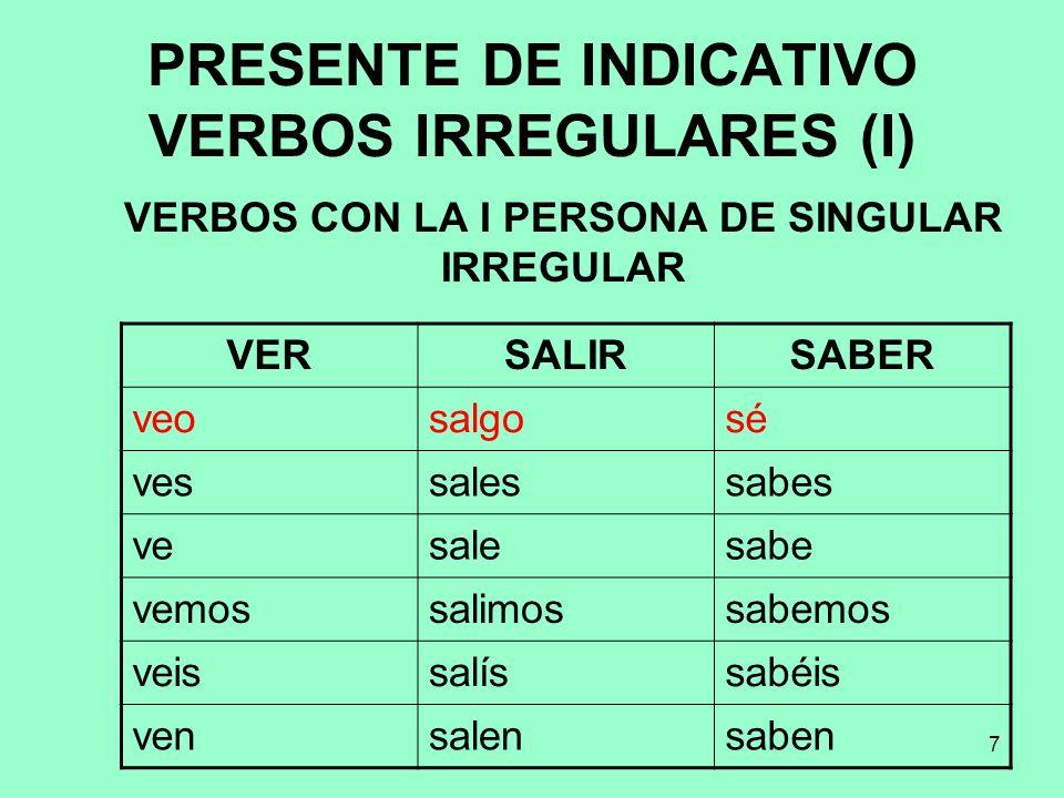 7 PRESENTE DE INDICATIVO VERBOS IRREGULARES (I) VERBOS CON LA I PERSONA DE SINGULAR IRREGULAR VERSALIRSABER veosalgosé vessalessabes vesalesabe vemoss