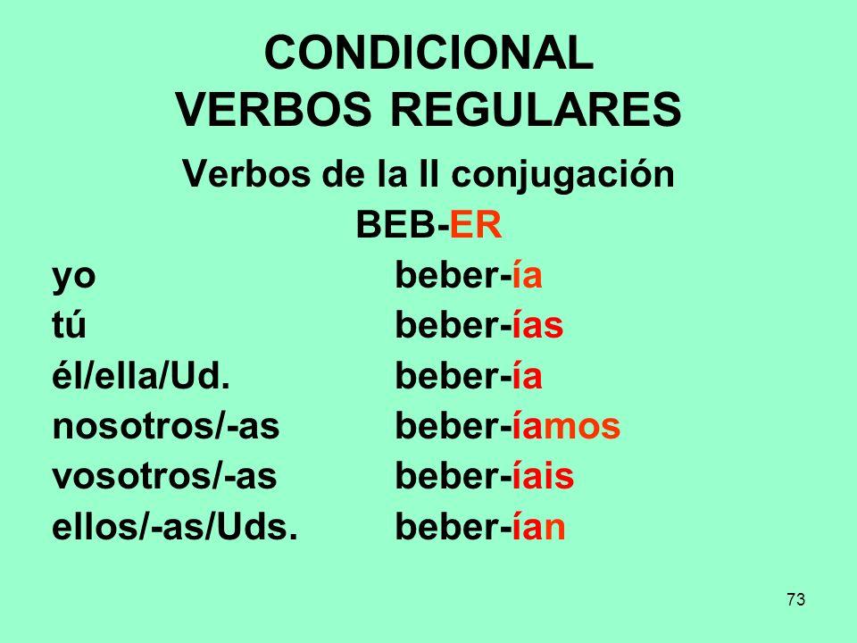 73 CONDICIONAL VERBOS REGULARES Verbos de la II conjugación BEB-ER yo beber-ía tú beber-ías él/ella/Ud. beber-ía nosotros/-as beber-íamos vosotros/-as