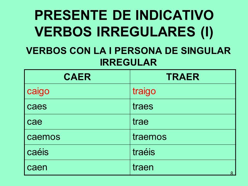 8 PRESENTE DE INDICATIVO VERBOS IRREGULARES (I) VERBOS CON LA I PERSONA DE SINGULAR IRREGULAR CAERTRAER caigotraigo caestraes caetrae caemostraemos ca