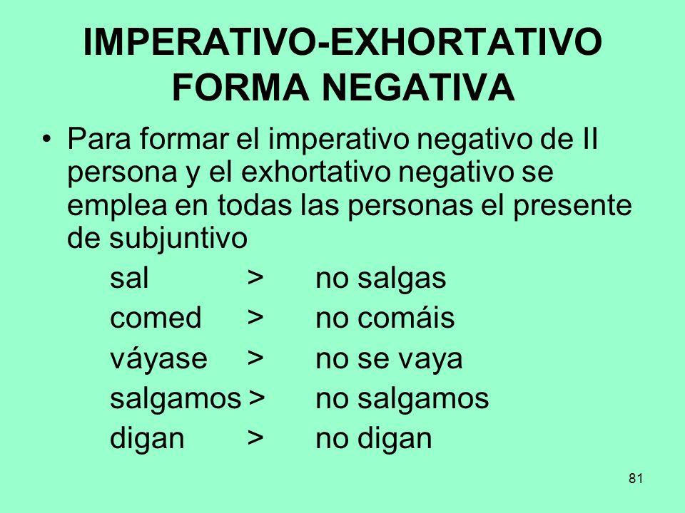 81 IMPERATIVO-EXHORTATIVO FORMA NEGATIVA Para formar el imperativo negativo de II persona y el exhortativo negativo se emplea en todas las personas el