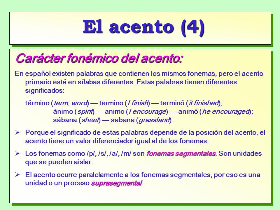 El acento (4) Carácter fonémico del acento: En español existen palabras que contienen los mismos fonemas, pero el acento primario está en sílabas diferentes.