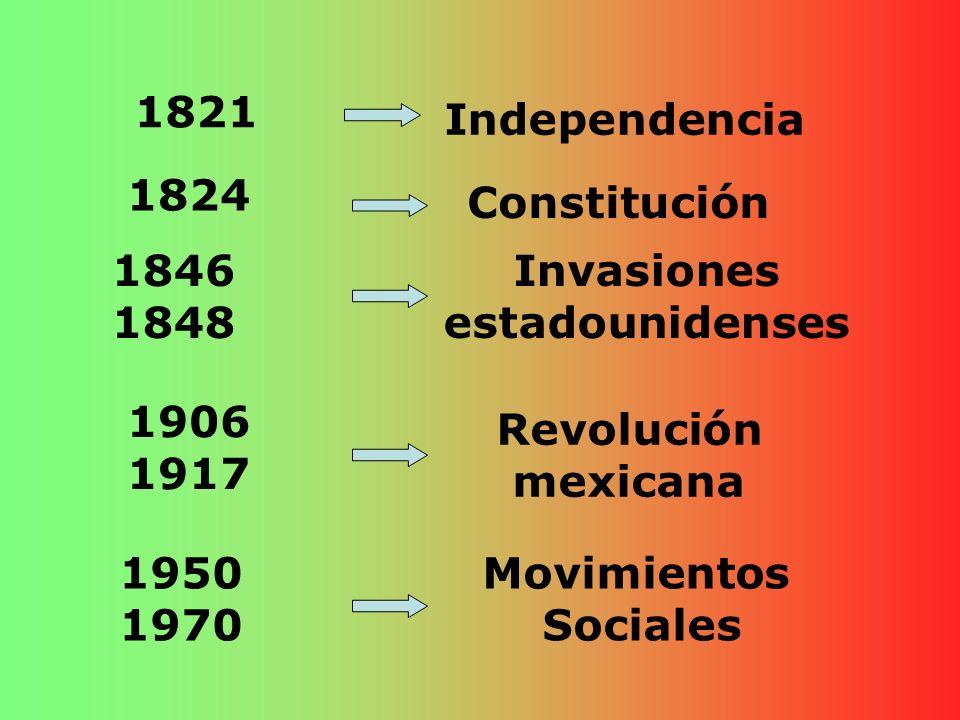 1821 Independencia 1824 Constitución 1846 1848 Invasiones estadounidenses 1906 1917 Revolución mexicana 1950 1970 Movimientos Sociales