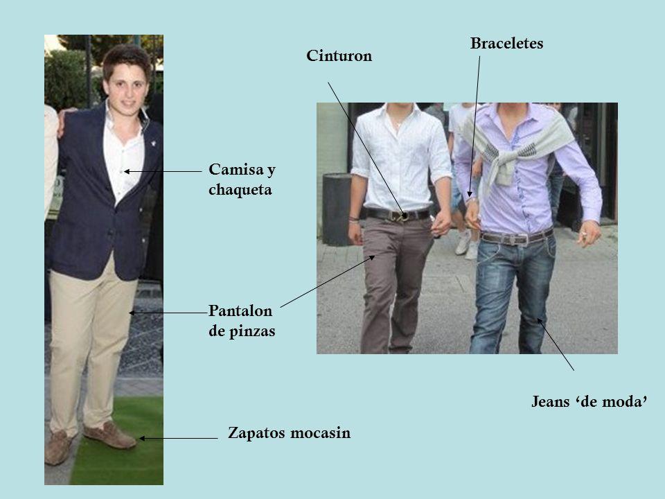 Zapatos mocasin Camisa y chaqueta Pantalon de pinzas Jeans de moda Braceletes Cinturon