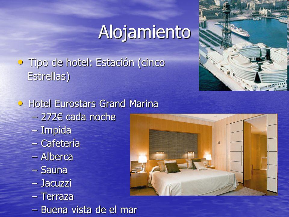 Alojamiento Tipo de hotel: Estación (cinco Tipo de hotel: Estación (cinco Estrellas) Estrellas) Hotel Eurostars Grand Marina Hotel Eurostars Grand Mar