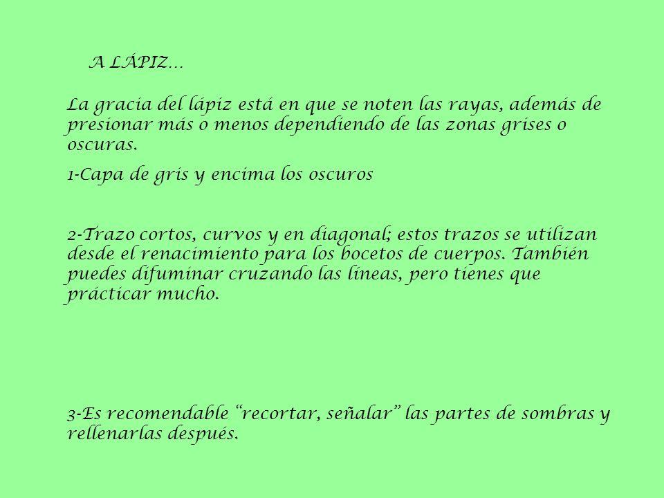 A LÁPIZ… La gracia del lápiz está en que se noten las rayas, además de presionar más o menos dependiendo de las zonas grises o oscuras. 1-Capa de gris