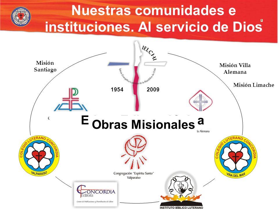 Nuestras comunidades e instituciones. Al servicio de Dios CongregacionesColegiosEducación TeológicaEditora 20091954 Misión Santiago Misión Villa Alema