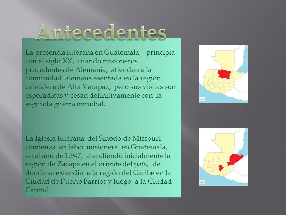 La presencia luterana en Guatemala, principia con el siglo XX, cuando misioneros procedentes de Alemania, atienden a la comunidad alemana asentada en