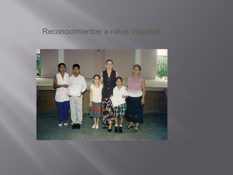 Reconocimientos a niños Inscritos