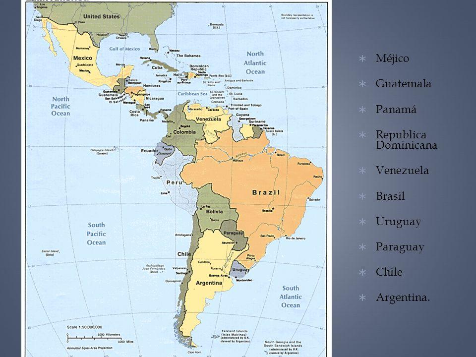 Méjico Guatemala Panamá Republica Dominicana Venezuela Brasil Uruguay Paraguay Chile Argentina.