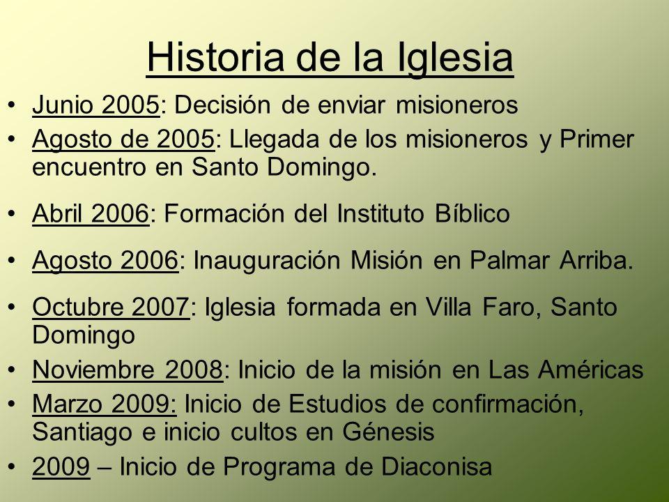 Junio 2005: Decisión de enviar misioneros Agosto de 2005: Llegada de los misioneros y Primer encuentro en Santo Domingo. Abril 2006: Formación del Ins