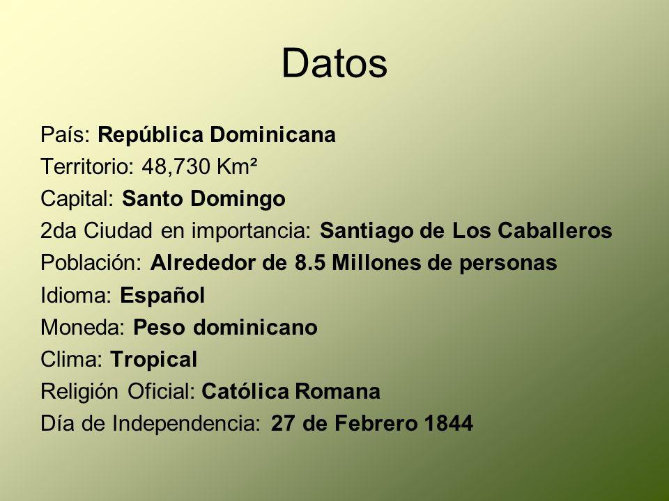 Datos País: República Dominicana Territorio: 48,730 Km² Capital: Santo Domingo 2da Ciudad en importancia: Santiago de Los Caballeros Población: Alrede