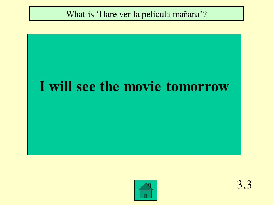 3,3 I will see the movie tomorrow What is Haré ver la película mañana?