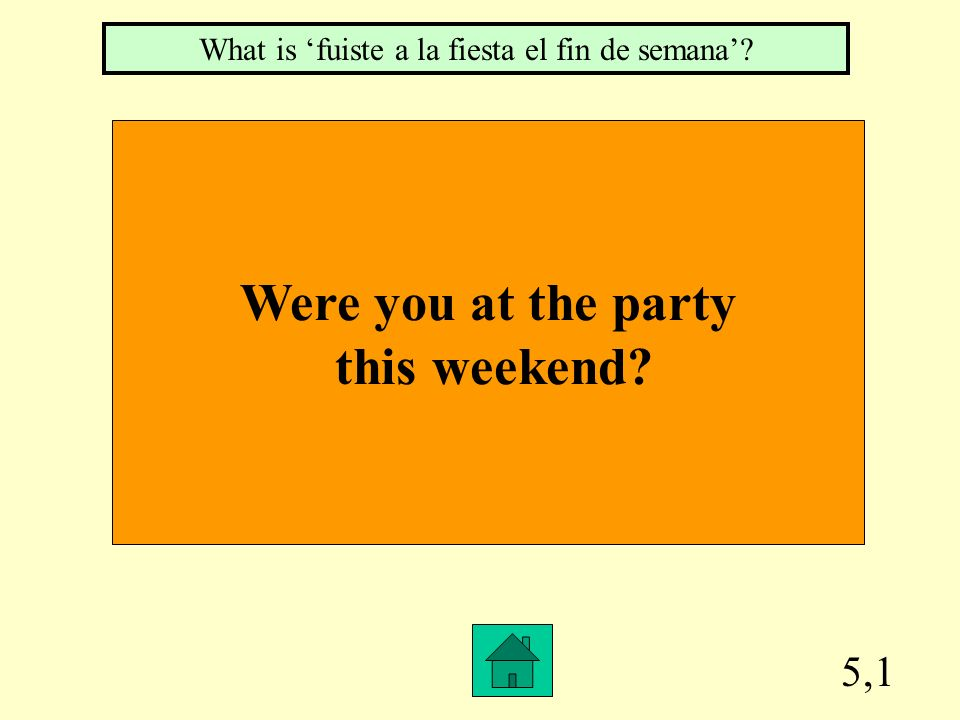 5,1 Were you at the party this weekend? What is fuiste a la fiesta el fin de semana?