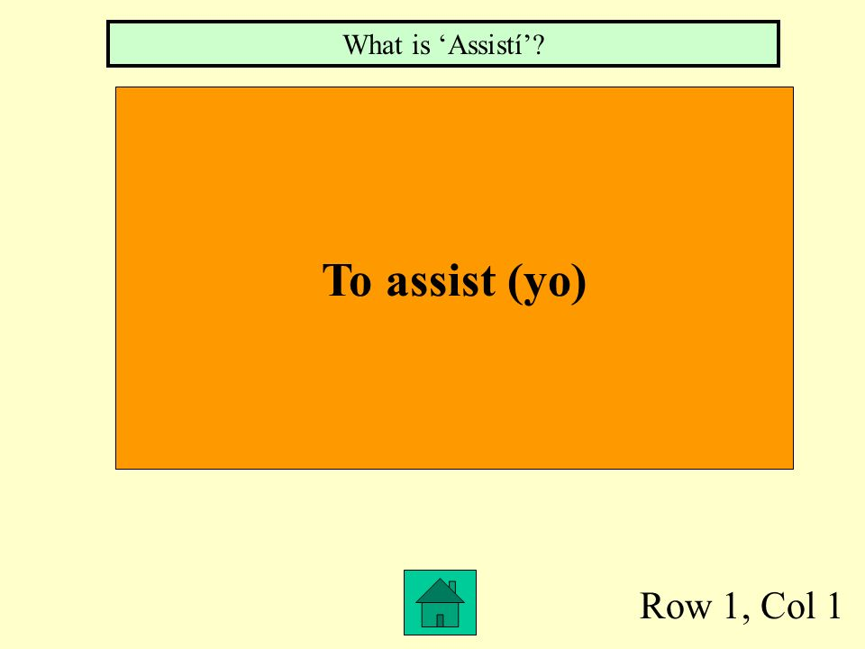 Row 1, Col 1 To assist (yo) What is Assistí?