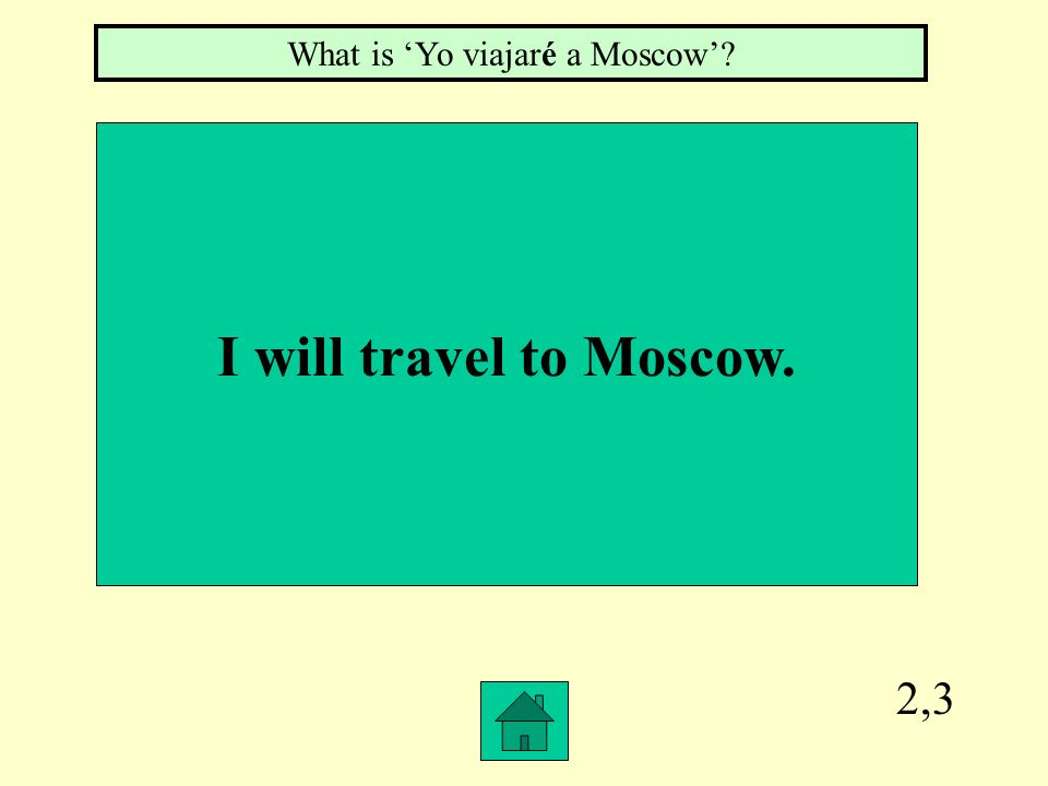 2,3 I will travel to Moscow. What is Yo viajaré a Moscow?
