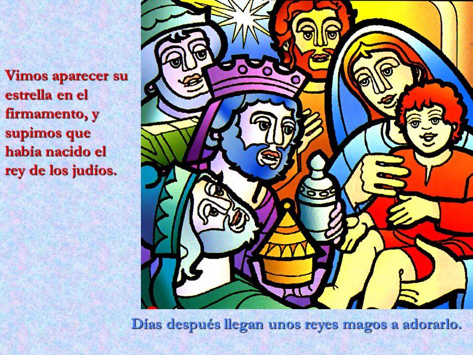 Días después llegan unos reyes magos a adorarlo. Vimos aparecer su estrella en el firmamento, y supimos que había nacido el rey de los judíos.