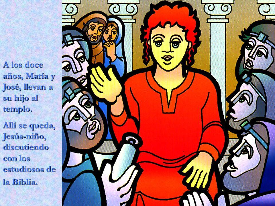 A los doce años, María y José, llevan a su hijo al templo. Allí se queda, Jesús-niño, discutiendo con los estudiosos de la Biblia.