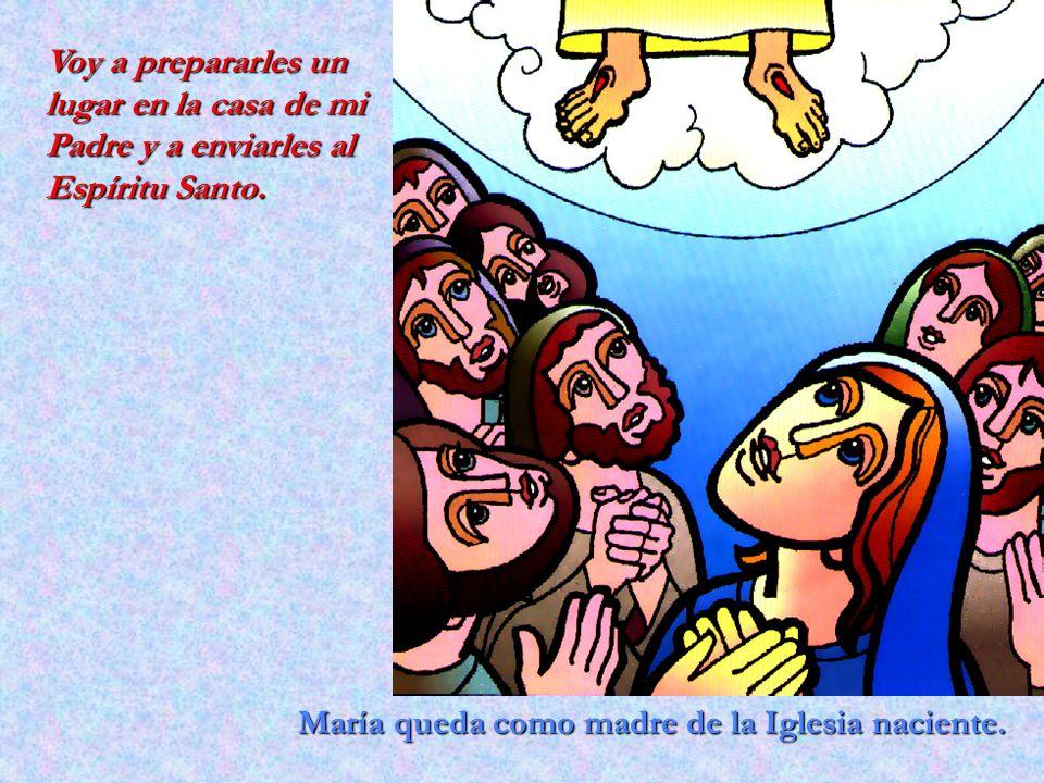 María queda como madre de la Iglesia naciente. Voy a prepararles un lugar en la casa de mi Padre y a enviarles al Espíritu Santo.