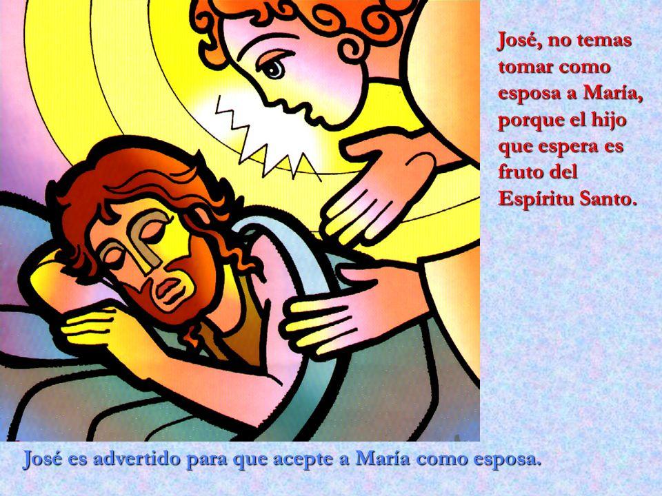 José es advertido para que acepte a María como esposa. José, no temas tomar como esposa a María, porque el hijo que espera es fruto del Espíritu Santo
