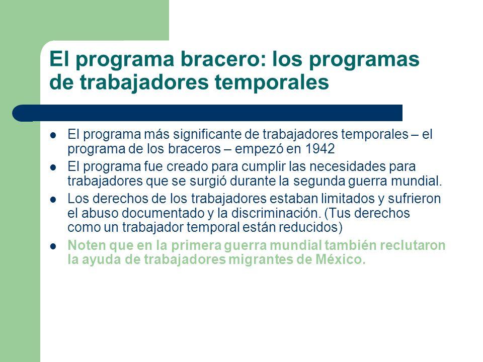 La operación mojado: La imposición aumentada de las leyes La operación mojado (1954) El proyecto empezó por el incremento de la inmigración causada por el programa de braceros.