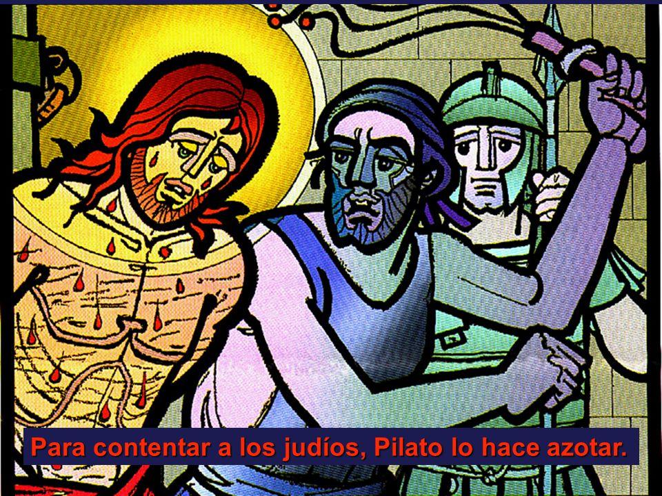 Para contentar a los judíos, Pilato lo hace azotar.