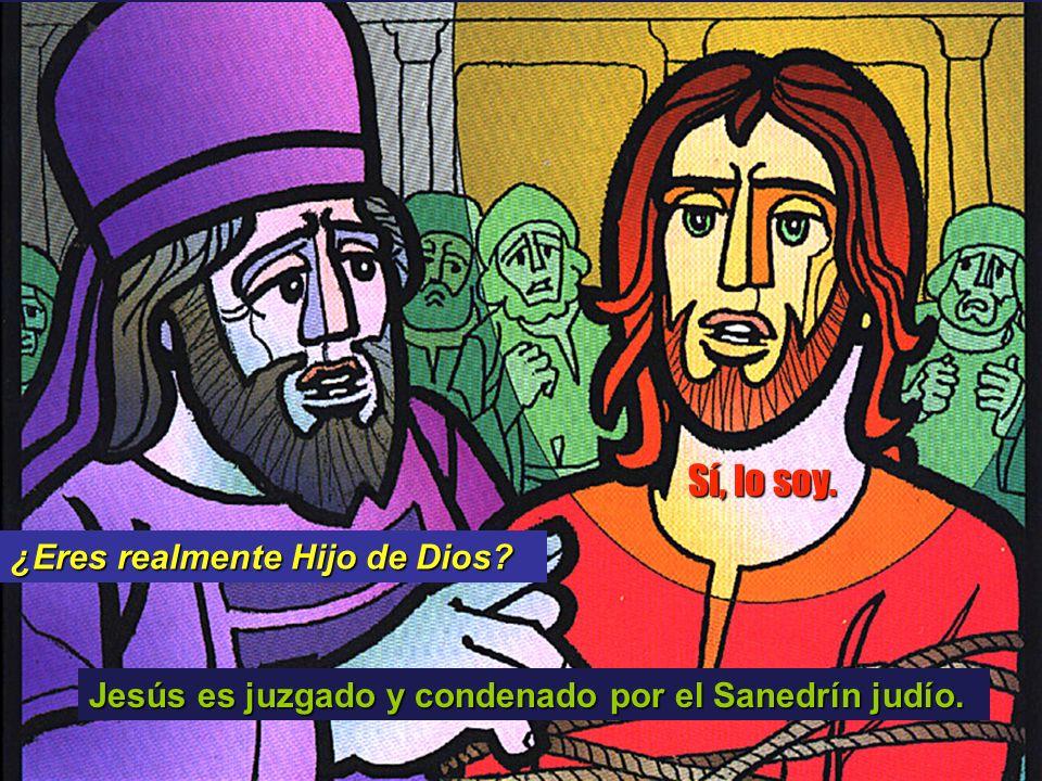 Jesús es juzgado y condenado por el Sanedrín judío. ¿Eres realmente Hijo de Dios? Sí, lo soy.